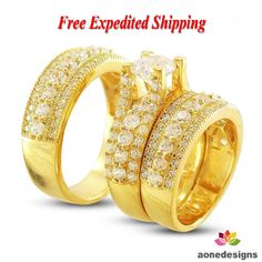3.0 CT Lab Diamond Wedding Yellow Gold Over Trio Bridal Band Engagement Ring Set #Aonedesign #WeddingEngagementAnniversaryPromisePartyWare