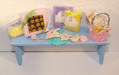 "TheFabulousFarmhouse.com 1/12"" Scale Miniature Dollhouse Easter Goodies Basket grass cookies boxed chocolates"