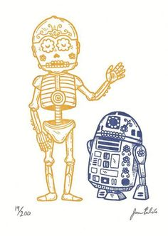 LOVE LOVE LOVE LOVE LOVE EVERYTHING ABOUT THIS    Dia de los Muertos C-3PO & R2-D2