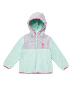 Take a look at this Mint & Gray Hooded Polar Fleece Jacket - Toddler & Girls today!