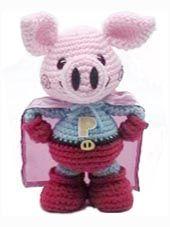 How cute!! Crochet Pig, Crochet For Kids, Crochet Yarn, Crochet Toys, Pig Pen, Teddy Bear, Piglets, Dolls, Knitting