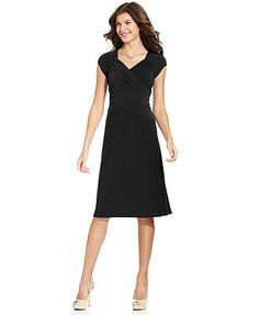 Elementz B-Slim Short-Sleeve A-Line Dress That little black dress that will go everywhere with just a nit of sleeve for the over 60 arm.