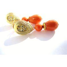SALE, Orange Pearl Teardrop Earrings, Matte Gold CZ Earrings Sterling... (€21) ❤ liked on Polyvore featuring jewelry, earrings, long stud earrings, stud earrings, cz stud earrings, long earrings and sterling silver charms