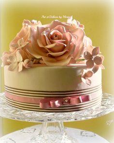 Pink Roses 2012 Valentine s Cake. Gumpaste roses and hydrangeas.