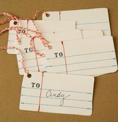 Homemade Notebook Paper Gift Tags (Knock Off Decor) Paper Tags, Paper Gifts, Kraft Paper, Craft Gifts, Diy Gifts, Anthropologie Christmas, Knock Off Decor, Handwriting Analysis, Notebook Paper