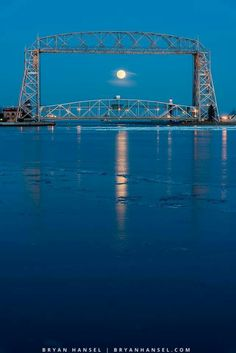 Moonrise at the Duluth Lift Bridge...2017. Photo by Bryan Hansel.
