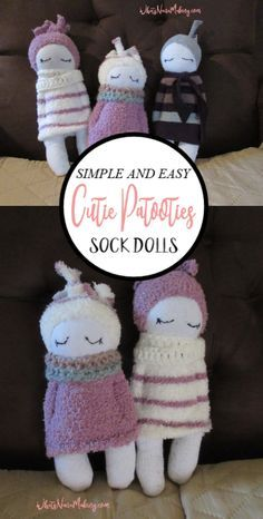 sock dolls how to make Diy Sock Toys, Sock Crafts, Fun Crafts, Sock Dolls, Baby Dolls, Rag Doll Tutorial, How To Make Socks, Sock Monkey Pattern, Diy Baby Gifts