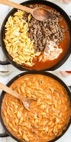 This creamy beef and shells recipe combines tender shell pasta with ground beef, tomato, spices and plenty of cheese. One bite and youll know why our family thinks it is the ultimate comfort food. Small Shell Pasta Recipe, Small Pasta, Stuffed Shells Recipe, Stuffed Pasta Shells, Ground Beef Pasta, Ground Beef Recipes, Pasta Recipes Using Ground Beef, Pasta With Beef, How To Cook Pasta