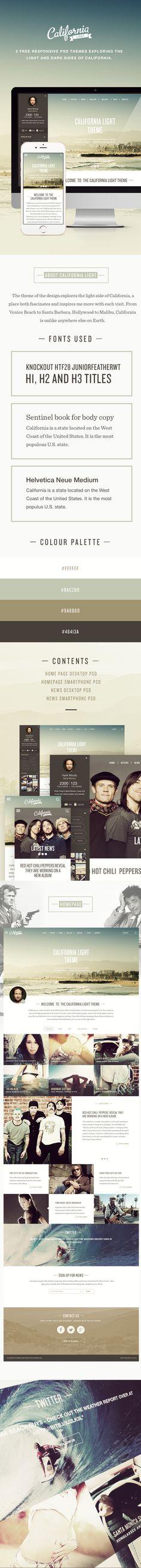 California Light & Dark FREE PSD themes on Behance
