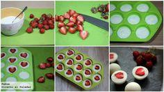 Culinária - Iogurte (com ou sem açúcar) e metades de morangos, organize em formas de gelo e leve ao congelador. Delicia!