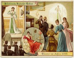 """An century concept for a device called """"The telephonoscope"""" was basicaly the Victorian Skype Victorian Trade Card believed to be the first colour lithograph to show the concept of television. Diesel Punk, Future Predictions, Theater, Victorian Illustration, Imagines, German Chocolate, What Is Life About, Belle Epoque, Vintage Postcards"""