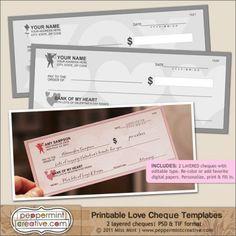 Printable Love Cheque Templates