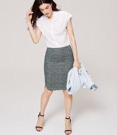Blurred Gingham Pencil Skirt | LOFT