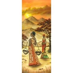 "Рисовая бумага для декупажа Stamperia ""Африка, женщины, саванна, горы"", 60x24 см, 20г/м2"