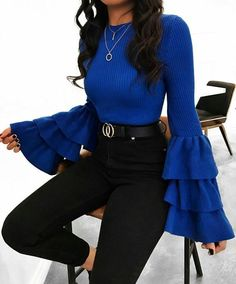 Ribbed Trumpet-Sleeve Sweater black high rise jeans with a royal blue blouse. Visit Daily Dress Me a Winter Fashion Outfits, Fall Outfits, Autumn Fashion, October Outfits, Summer Outfits, Fashion Boots, Fashion Sandals, Party Outfits, Black Women Fashion