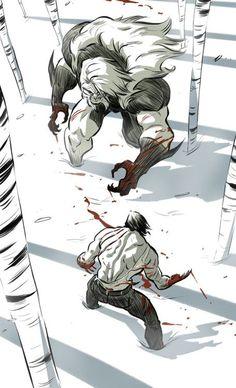 Sabretooth vs Wolverine, by Kenny Park