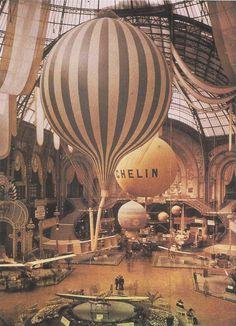Autochrome photograph of an aircraft exhibition at the Grand Palais, Paris, 1909