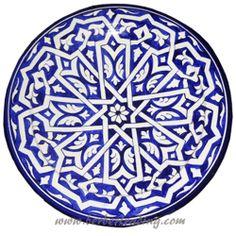 Touareg Ceramic Plate-Blue
