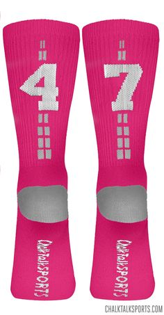 Rep your jersey number in these pink Team Number Crew Socks!
