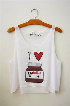 ♡I ♥ Nutella♡ with a brown cami under and it would be adorable!!