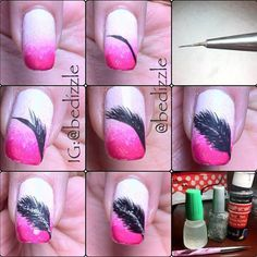 Feather Nails Diy Tutorial Nail Art For Me Pinterest Feather