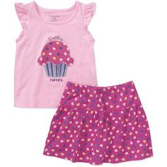 Faded Glory - Baby Girls' 2-Piece Graphic Tee and Skort Set