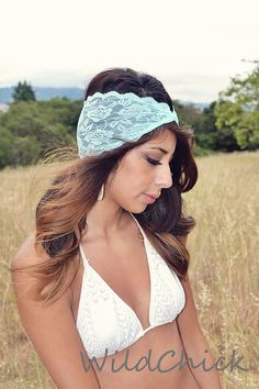 Light Blue Lace Headband In Wide Lace Hair Band Stretch Lace Headband.