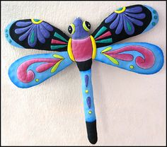 """Dragonfly Metal Wall Hanging - Blue-Pink-Purple - Hand Painted Home Decor - 20"""" x 24"""" - tropicdecor.com"""