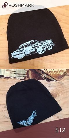Baby Rock and Roll beanie hat Dark charcoal beanie has a light blue screen print of a vintage car on one side, and a winged guitar on the other.  By Pinkaxle. EUC! Pinkaxle Accessories Hats