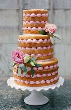 Pink piped naked cake by Erica OBrien Cake Design. Wedding Cake Rustic, Beautiful Wedding Cakes, Gorgeous Cakes, Pretty Cakes, Amazing Cakes, Cake Wedding, Wedding Cookies, Elegant Wedding, Rustic Cake
