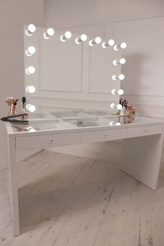 Crisp White Finish Slaystation Make Up Vanity With Premium Storage, Three  Spacious Drawers Encrusted With Diamanté Cut Light Reflecting Glass Handles  Topped ...