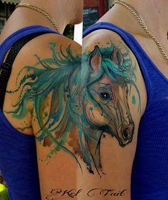 Watercolor #horse #tattoo by Kel Tait