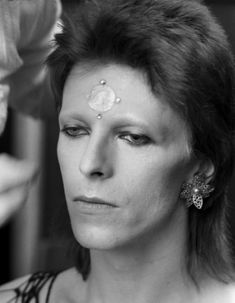 """David Bowie, backstage at London's Marquee Club for """"The 1980 Floor Show, """"filmed 19-20 October 1973 for NBC's The Midnight Special, by Terry O'Neill"""