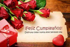 BANCO DE IMÁGENES: 30 tarjetas de cumpleaños con rosas rojas, mensajes y nombres de personas...