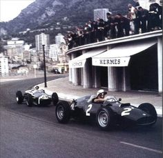 1960 Formula One, Monte Carlo   The front car is Jo Bonnier racing for Arthur Owen P48 and the rear car is Stirling Moss, racing for Reventlow Automobiles Inc