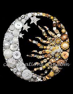 Lune & Dim 8 x 10 bouton Art oeuvre de bouton boutons
