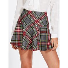 SheIn(sheinside) Ruffle Hem Checked Skirt ($11) ❤ liked on Polyvore featuring skirts, multi, short skirts, plaid skirt, checkered skirt, ruffle hem skirt and sexy short skirts