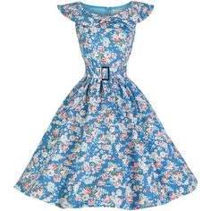 Lindy Bop 'HETTY' Vintage 1950's Spring Garden Floral Party Dress (3.470 RUB) ❤ liked on Polyvore featuring dresses, 50s dresses, floral pattern dress, floral printed dress, floral design dresses, vintage floral print dress and vintage dresses