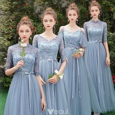 Affordable Sky Blue See-through Bridesmaid Dresses 2019 A-Line Princess 1 2 Sleeves Sash Appliques Lace Floor-Length Long Ruffle Wedding Party Dresses Bridesmaid Dresses With Sleeves, Bridesmaid Dress Colors, Lace Bridesmaids, Wedding Bridesmaid Dresses, Wedding Party Dresses, Dress Party, Blue Dress With Sleeves, Burgundy Bridesmaid, Bridesmaids