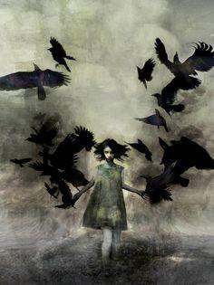Cool gothic art , girl walks with ravens Crow Art, Raven Art, Bird Art, Dark Fantasy Art, Fantasy Hair, Fantasy Dress, Art And Illustration, Tatoo Bird, Art Vampire