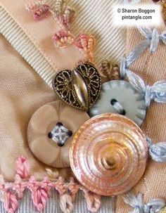 Gramma Schofield's button collection worked into Crazy quilt detail of buttons on block