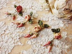lace and ribbon flowers