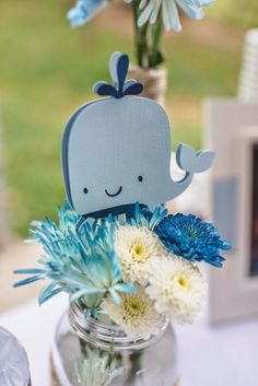Cute centerpieces for a whale themes party!