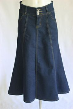Classic Gored Lines Long Jean Skirt, Sizes 2-16 Petite...love it...bought it.  I love the skirt outlet!