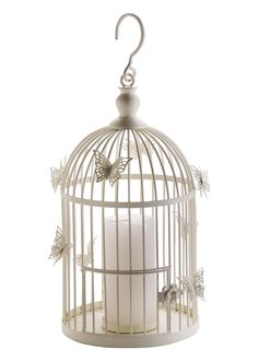 Vintage wire birdcage candle holder