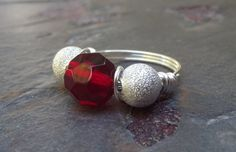 Red and Silver Cocktail Ring  Fine Silver by SherryKayDesigns, $28.00