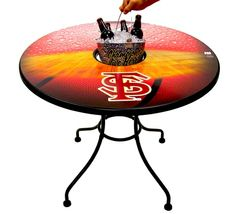 These tables are perfect for game day. Keep a bucket full of your ice cold favorite drink in the center.