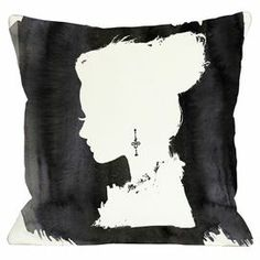 "Pillow with a silhouette motif in black and white. Made in the USA.  Product: PillowConstruction Material: Polyester cover and polyester fillColor: Black and whiteFeatures:  Insert includedSealed closureSix color digital printing processMade in the USA Dimensions: 18"" x 18""Cleaning and Care: Spot clean only"