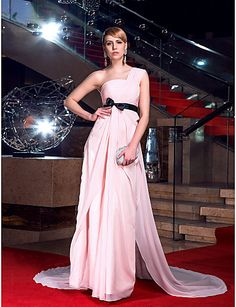 Sheath/Column One Shoulder Floor-length Chiffon Evening Dress inspired by Penelope Cruz – USD $ 149.99