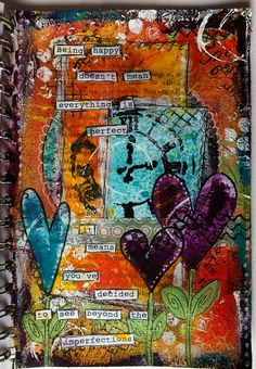 Being happy... mixed media, art journal